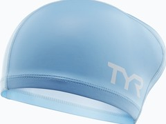 Шапочка для плавания TYR Long Hair Silicone Comfort Swim Cap голубая