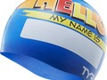 Шапочка для плавания TYR Hello My Name Is Swim Cap (O/S, 420 Голубой)